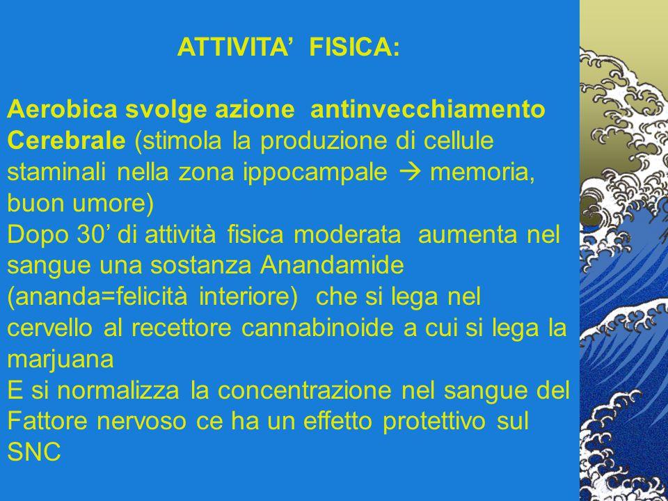 ATTIVITA' FISICA: Aerobica svolge azione antinvecchiamento Cerebrale (stimola la produzione di cellule staminali nella zona ippocampale  memoria, buo