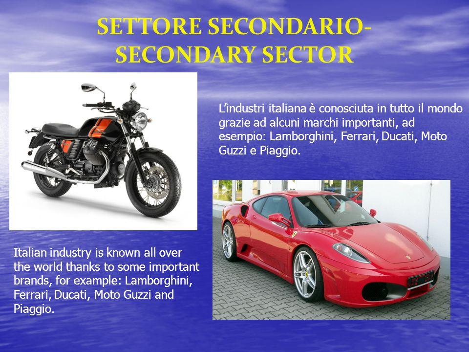 L'industri italiana è conosciuta in tutto il mondo grazie ad alcuni marchi importanti, ad esempio: Lamborghini, Ferrari, Ducati, Moto Guzzi e Piaggio.