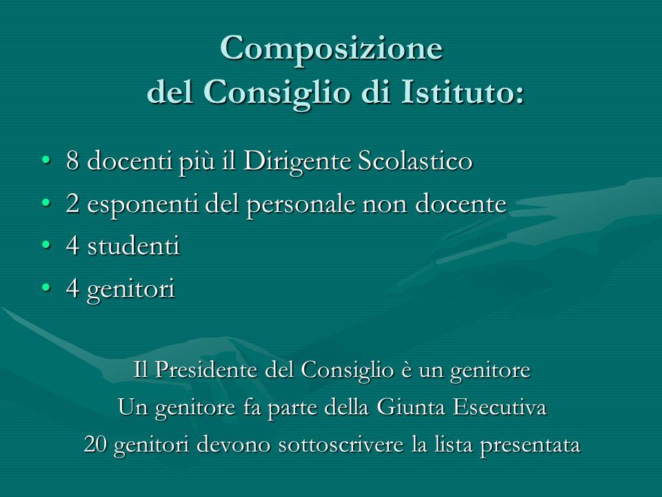 Composizione del Consiglio di Istituto: 8 docenti più il Dirigente Scolastico8 docenti più il Dirigente Scolastico 2 esponenti del personale non docen