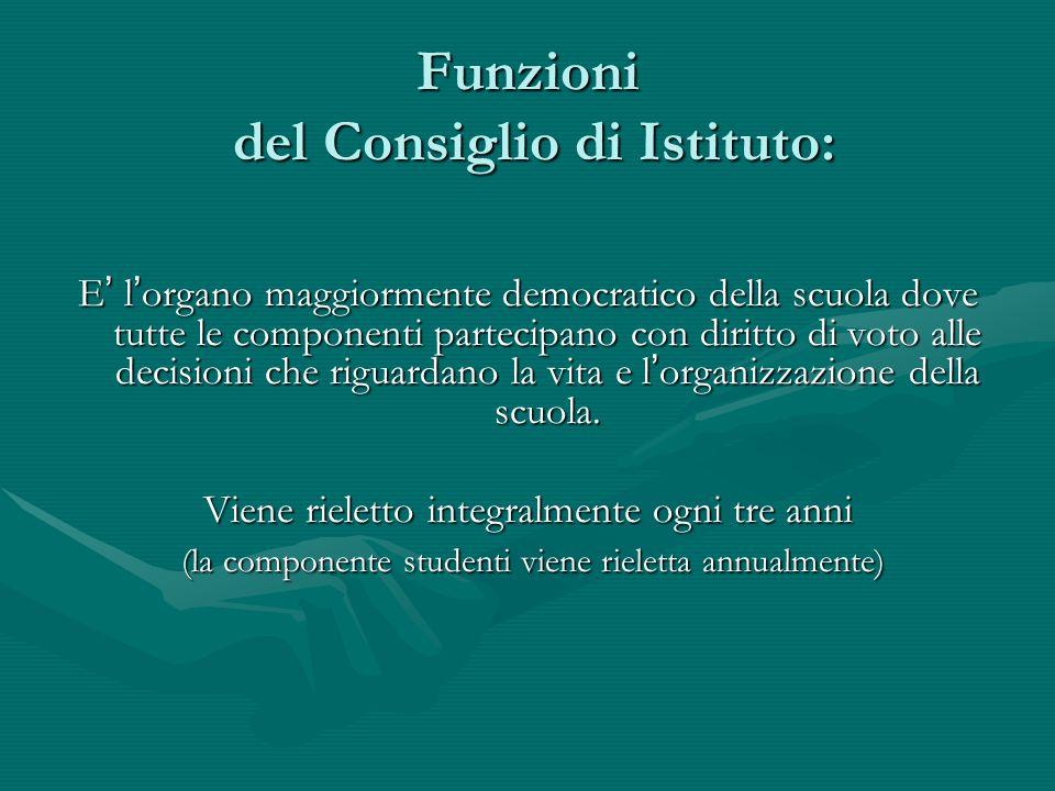 Funzioni del Consiglio di Istituto: E ' l ' organo maggiormente democratico della scuola dove tutte le componenti partecipano con diritto di voto alle