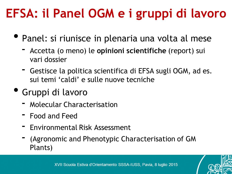 EFSA: il Panel OGM e i gruppi di lavoro Panel: si riunisce in plenaria una volta al mese - Accetta (o meno) le opinioni scientifiche (report) sui vari