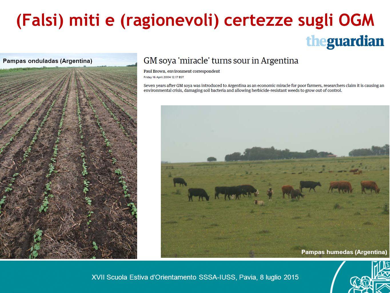 (Falsi) miti e (ragionevoli) certezze sugli OGM XVII Scuola Estiva d'Orientamento SSSA-IUSS, Pavia, 8 luglio 2015 Pampas humedas (Argentina) Pampas on