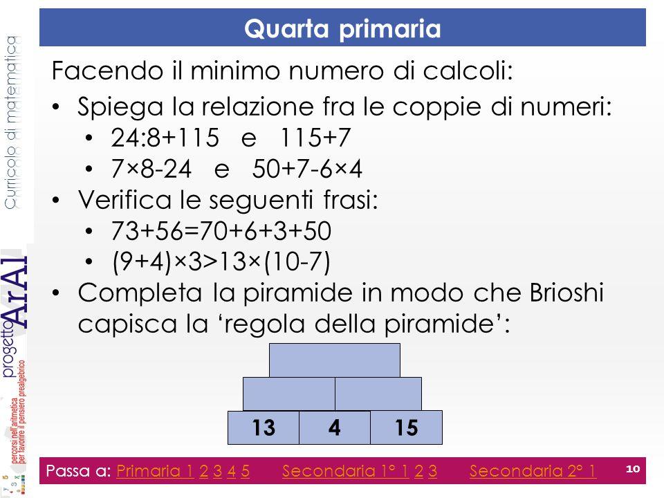 Quarta primaria Passa a: Primaria 1 2 3 4 5 Secondaria 1° 1 2 3 Secondaria 2° 1Primaria 12345Secondaria 1° 123Secondaria 2° 1 10 Facendo il minimo num