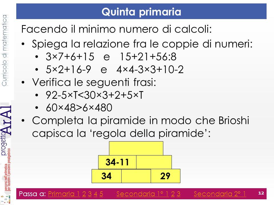 Quinta primaria Passa a: Primaria 1 2 3 4 5 Secondaria 1° 1 2 3 Secondaria 2° 1Primaria 12345Secondaria 1° 123Secondaria 2° 1 12 Facendo il minimo num