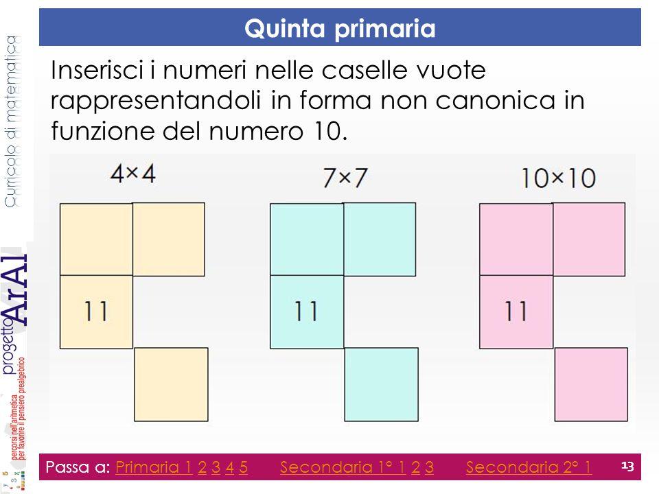 Quinta primaria Passa a: Primaria 1 2 3 4 5 Secondaria 1° 1 2 3 Secondaria 2° 1Primaria 12345Secondaria 1° 123Secondaria 2° 1 13 Inserisci i numeri ne
