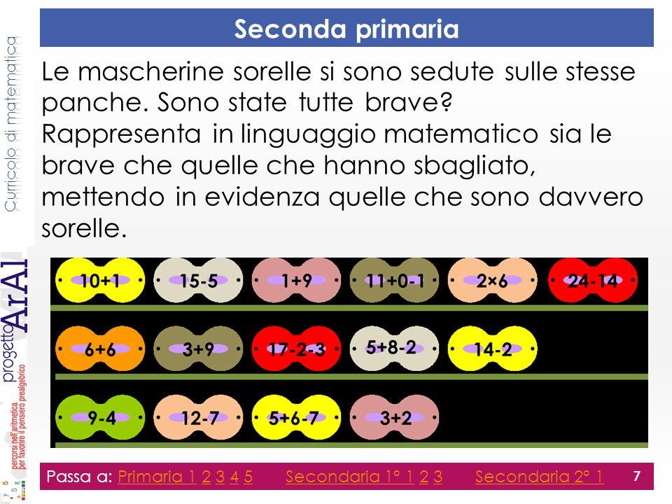 Terza primaria Passa a: Primaria 1 2 3 4 5 Secondaria 1° 1 2 3 Secondaria 2° 1Primaria 12345Secondaria 1° 123Secondaria 2° 1 8 Facendo il minimo numero di calcoli: Spiega la relazione fra le coppie di numeri: 83+96+4 e 182 64-1 e 9×7+3+1 Verifica le seguenti frasi: 100-9×7>100-9×8 5×3+4 ≠30:2+3+1 Rappresenta il numero mancante in modo che Brioshi capisca la 'regola della piramide': 31 31+28