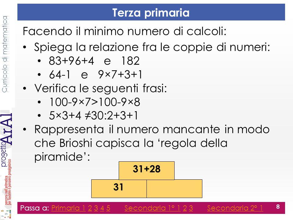 Terza secondaria primo grado Passa a: Primaria 1 2 3 4 5 Secondaria 1° 1 2 3 Secondaria 2° 1Primaria 12345Secondaria 1° 123Secondaria 2° 1 19 Passa a: Primaria 1 2 3 4 5 Secondaria 1° 1 2 3 Secondaria 2° 1Primaria 12345Secondaria 1° 123Secondaria 2° 1 19 Inserisci i numeri nelle caselle vuote (griglia n×n) rappresentandoli in funzione di a.