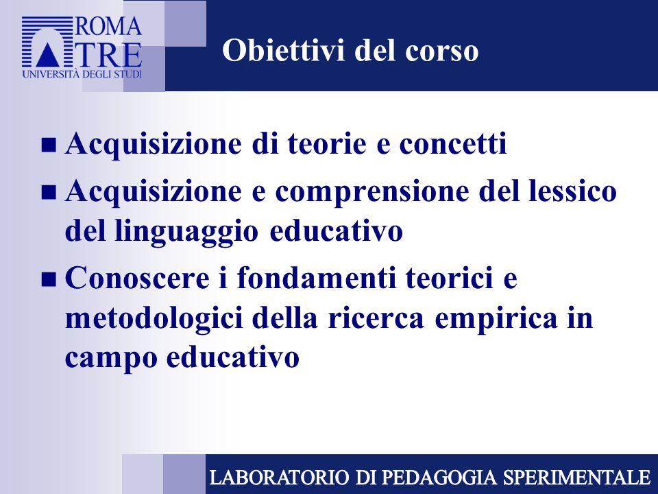 Obiettivi del corso Acquisizione di teorie e concetti Acquisizione e comprensione del lessico del linguaggio educativo Conoscere i fondamenti teorici