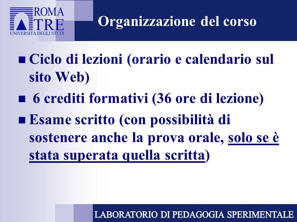 Organizzazione del corso Ciclo di lezioni (orario e calendario sul sito Web) 6 crediti formativi (36 ore di lezione) Esame scritto (con possibilità di