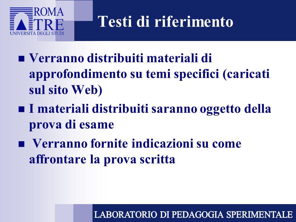 Testi di riferimento Verranno distribuiti materiali di approfondimento su temi specifici (caricati sul sito Web) I materiali distribuiti saranno ogget