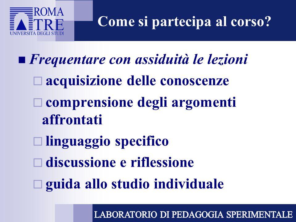 Come si partecipa al corso? Frequentare con assiduità le lezioni  acquisizione delle conoscenze  comprensione degli argomenti affrontati  linguaggi