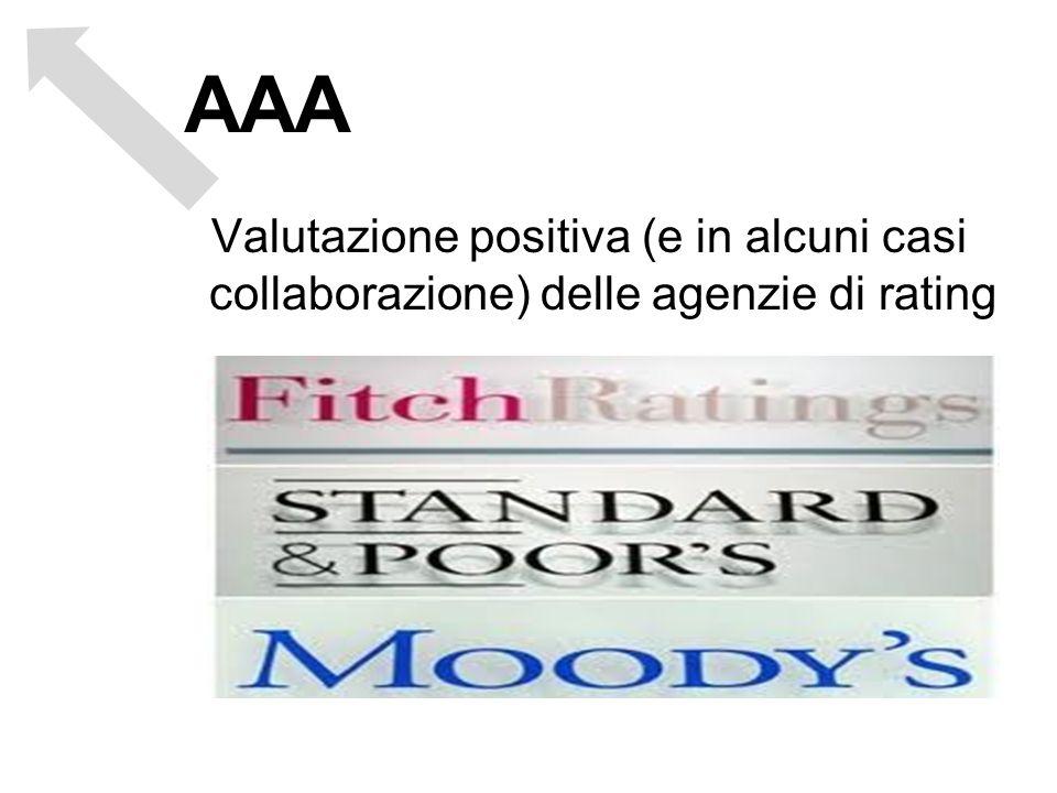 Valutazione positiva (e in alcuni casi collaborazione) delle agenzie di rating AAA