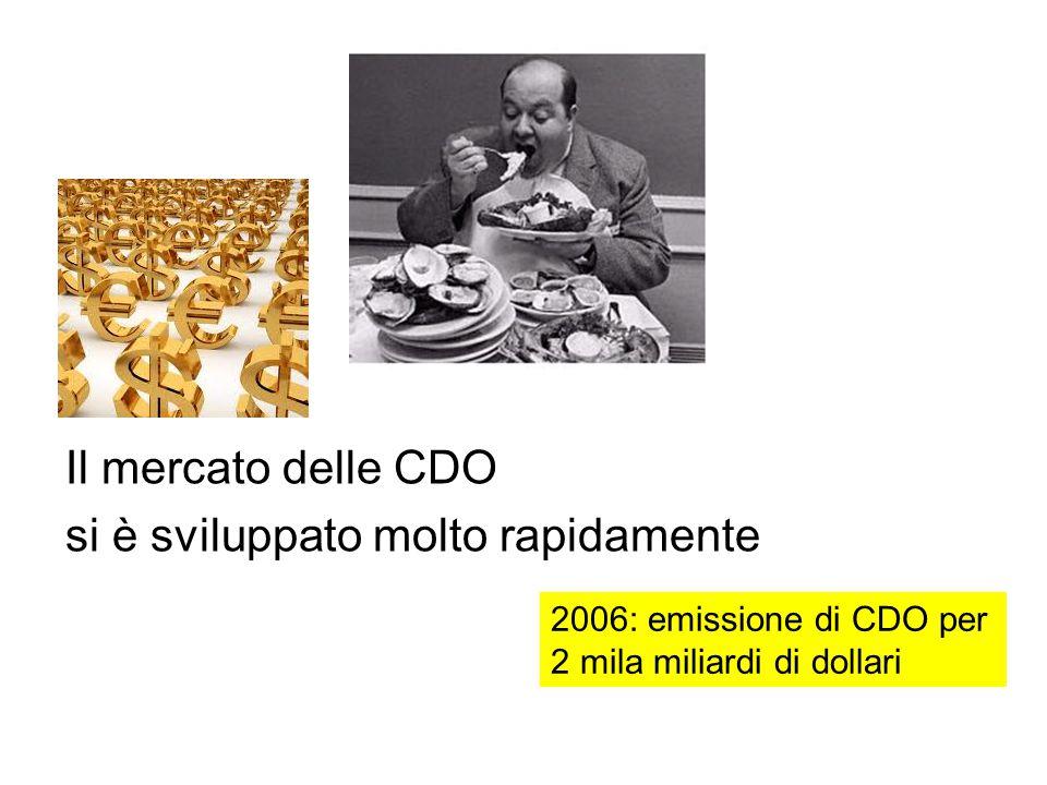 Il mercato delle CDO si è sviluppato molto rapidamente 2006: emissione di CDO per 2 mila miliardi di dollari