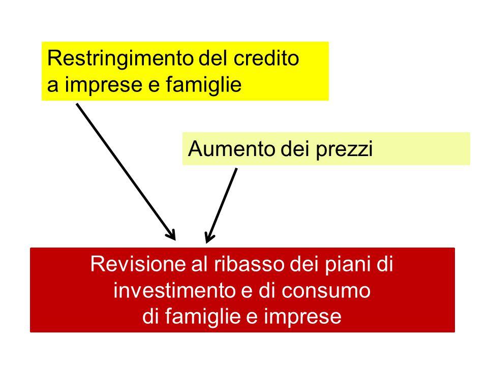 Aumento dei prezzi Restringimento del credito a imprese e famiglie Revisione al ribasso dei piani di investimento e di consumo di famiglie e imprese