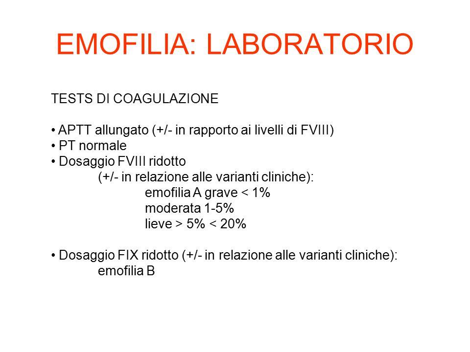 TESTS DI COAGULAZIONE APTT allungato (+/- in rapporto ai livelli di FVIII) PT normale Dosaggio FVIII ridotto (+/- in relazione alle varianti cliniche)