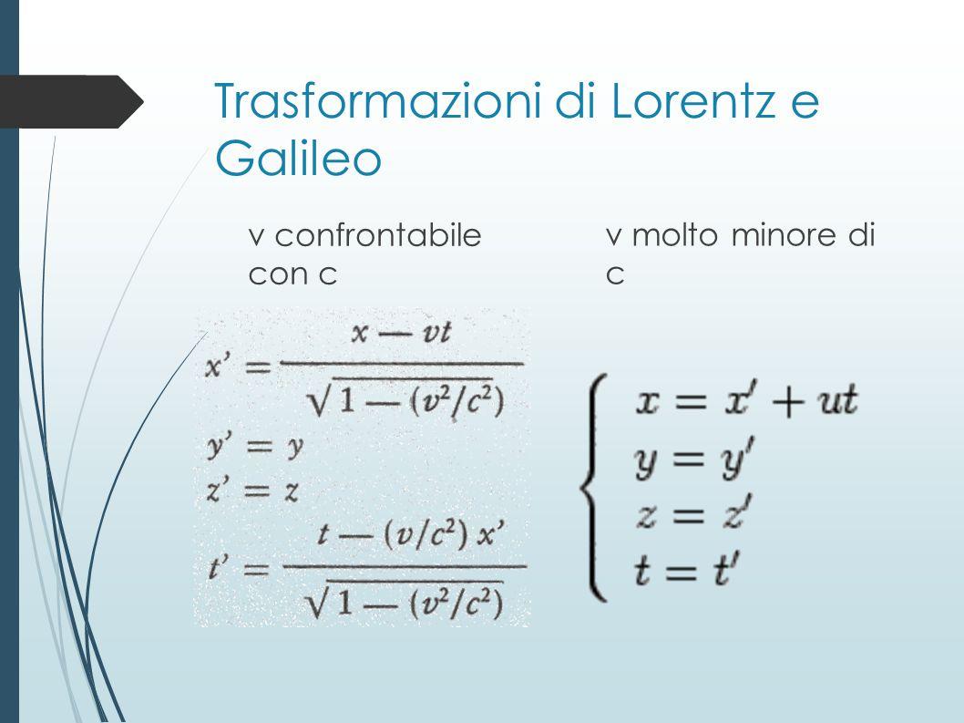 Trasformazioni di Lorentz e Galileo v confrontabile con c v molto minore di c