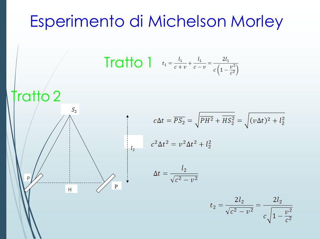 Esperimento di Michelson Morley P H P Tratto 1 Tratto 2