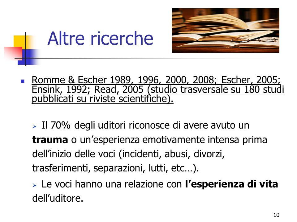 Altre ricerche Romme & Escher 1989, 1996, 2000, 2008; Escher, 2005; Ensink, 1992; Read, 2005 (studio trasversale su 180 studi pubblicati su riviste sc
