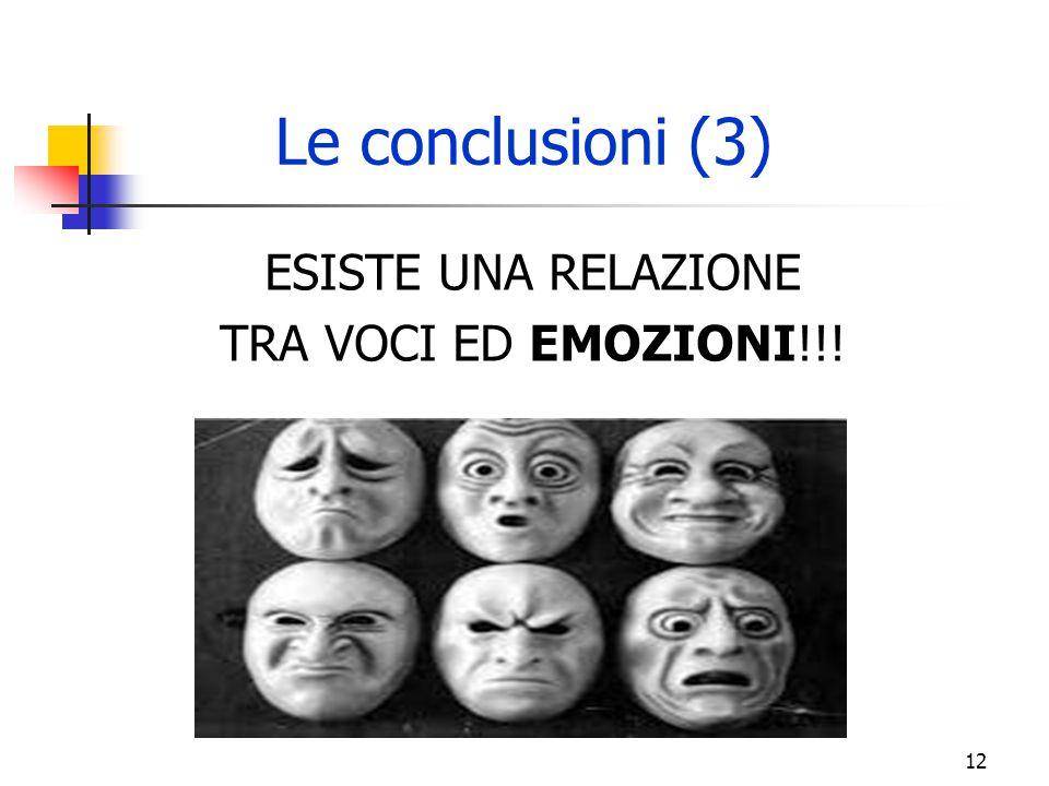 ESISTE UNA RELAZIONE TRA VOCI ED EMOZIONI!!! Le conclusioni (3) 12