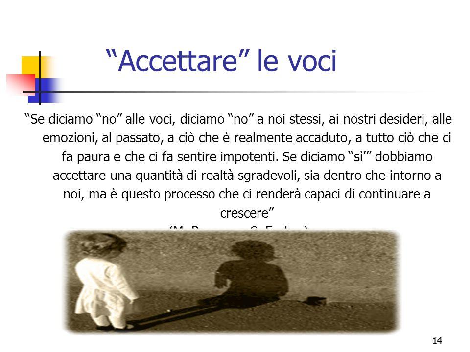 """14 """"Accettare"""" le voci """"Se diciamo """"no"""" alle voci, diciamo """"no"""" a noi stessi, ai nostri desideri, alle emozioni, al passato, a ciò che è realmente acc"""