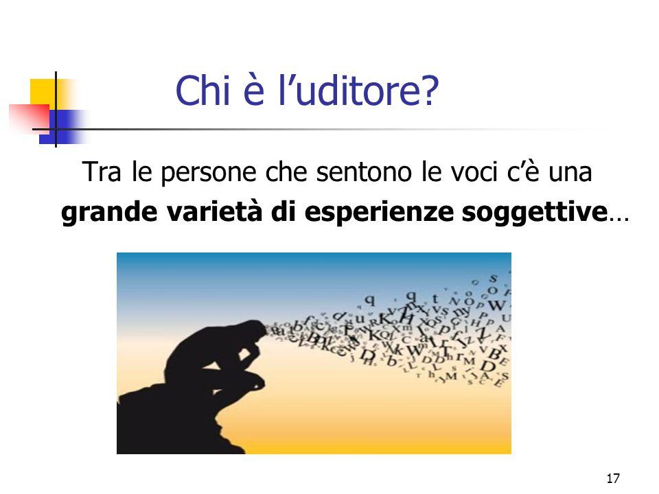 Chi è l'uditore? Tra le persone che sentono le voci c'è una grande varietà di esperienze soggettive… 17