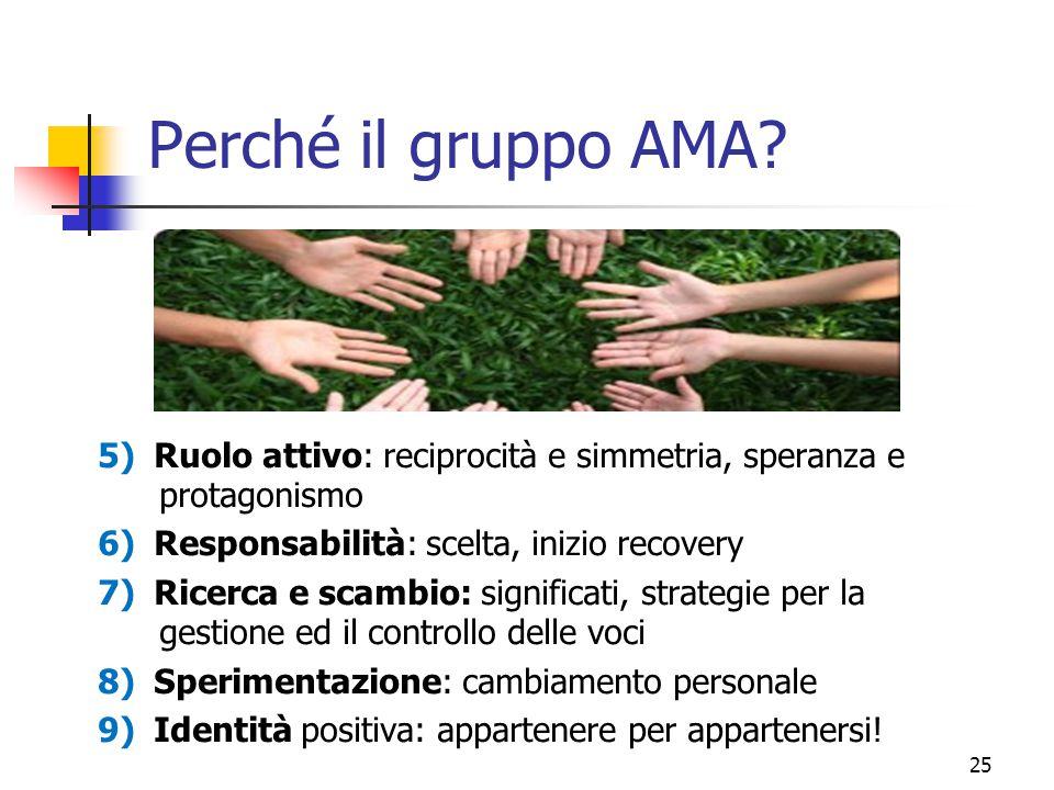 Perché il gruppo AMA? 5) Ruolo attivo: reciprocità e simmetria, speranza e protagonismo 6) Responsabilità: scelta, inizio recovery 7) Ricerca e scambi