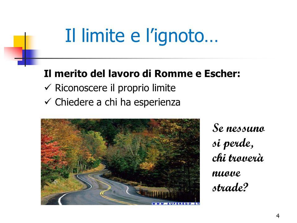 Il merito del lavoro di Romme e Escher: Riconoscere il proprio limite Chiedere a chi ha esperienza Il limite e l'ignoto… Se nessuno si perde, chi trov