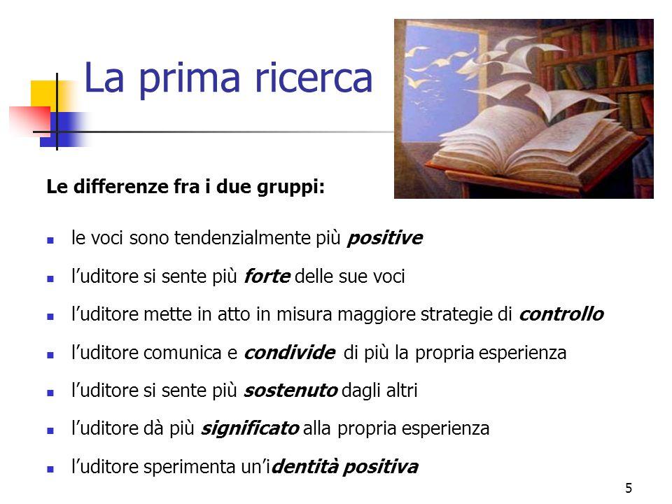 La prima ricerca Le differenze fra i due gruppi: le voci sono tendenzialmente più positive l'uditore si sente più forte delle sue voci l'uditore mette