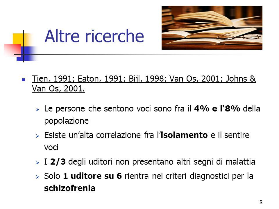 Altre ricerche Tien, 1991; Eaton, 1991; Bijl, 1998; Van Os, 2001; Johns & Van Os, 2001.  Le persone che sentono voci sono fra il 4% e l'8% della popo