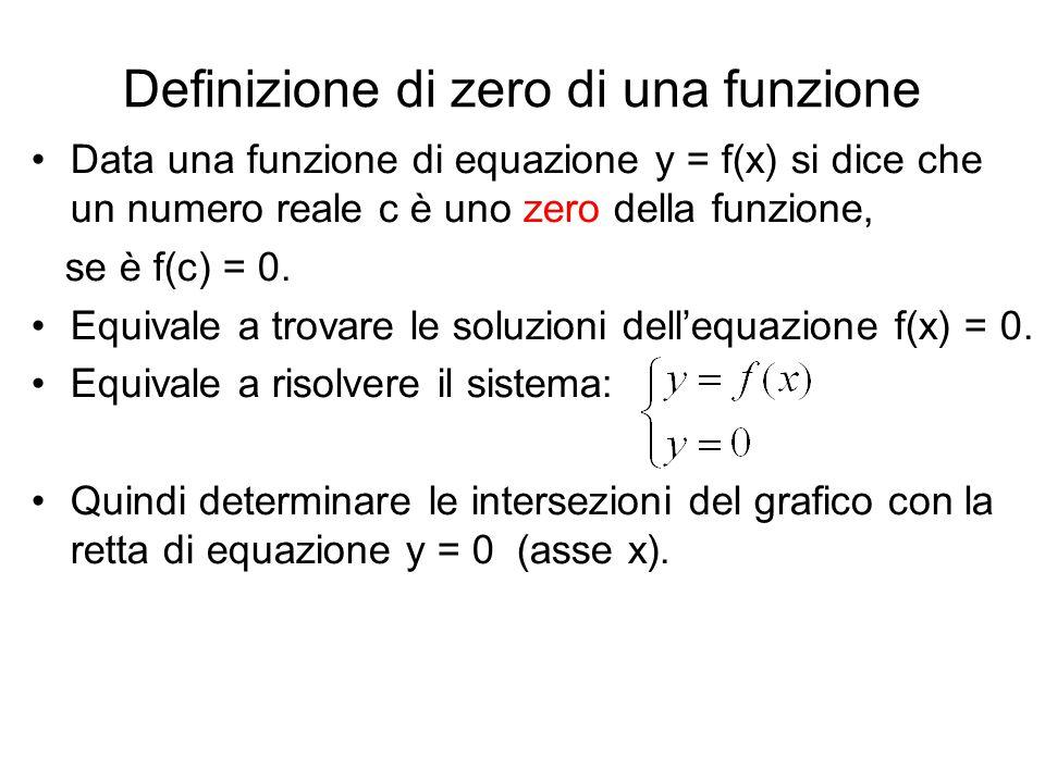 Definizione di zero di una funzione Data una funzione di equazione y = f(x) si dice che un numero reale c è uno zero della funzione, se è f(c) = 0. Eq