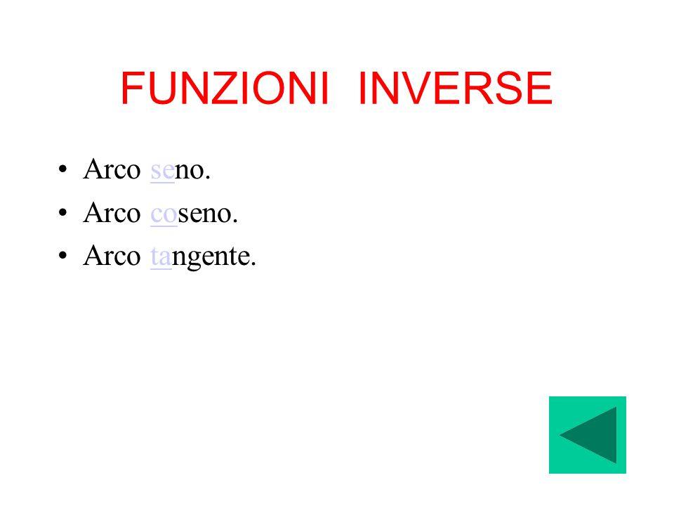 FUNZIONI INVERSE Arco seno.se Arco coseno.co Arco tangente.ta