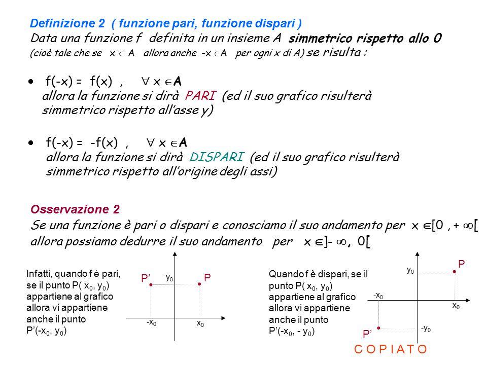 Definizione 2 ( funzione pari, funzione dispari ) Data una funzione f definita in un insieme A simmetrico rispetto allo 0 (cioè tale che se x  A allo