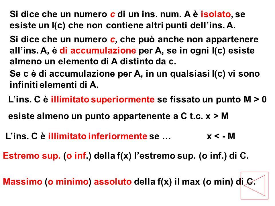 Si dice che un numero c di un ins. num. A è isolato, se esiste un I(c) che non contiene altri punti dell'ins. A. Si dice che un numero c, che può anch