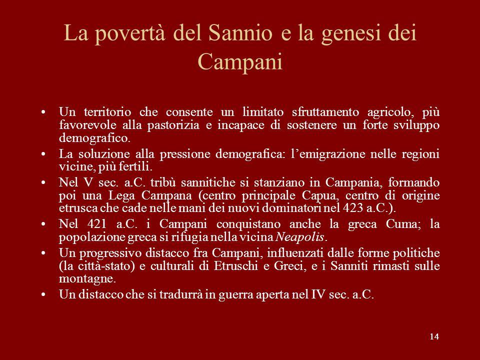 14 La povertà del Sannio e la genesi dei Campani Un territorio che consente un limitato sfruttamento agricolo, più favorevole alla pastorizia e incapa