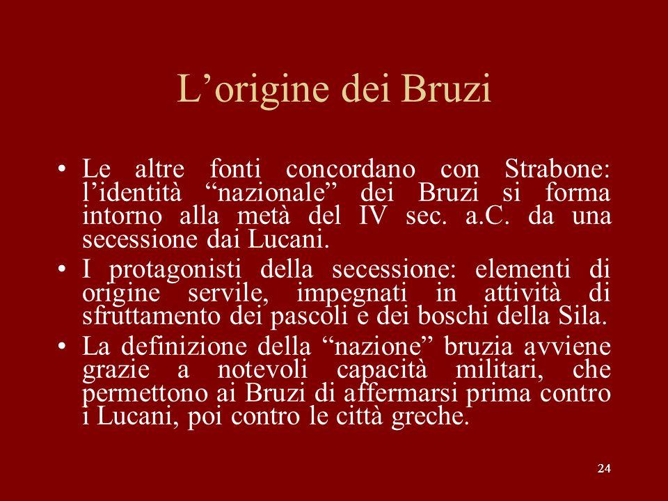 """24 L'origine dei Bruzi Le altre fonti concordano con Strabone: l'identità """"nazionale"""" dei Bruzi si forma intorno alla metà del IV sec. a.C. da una sec"""