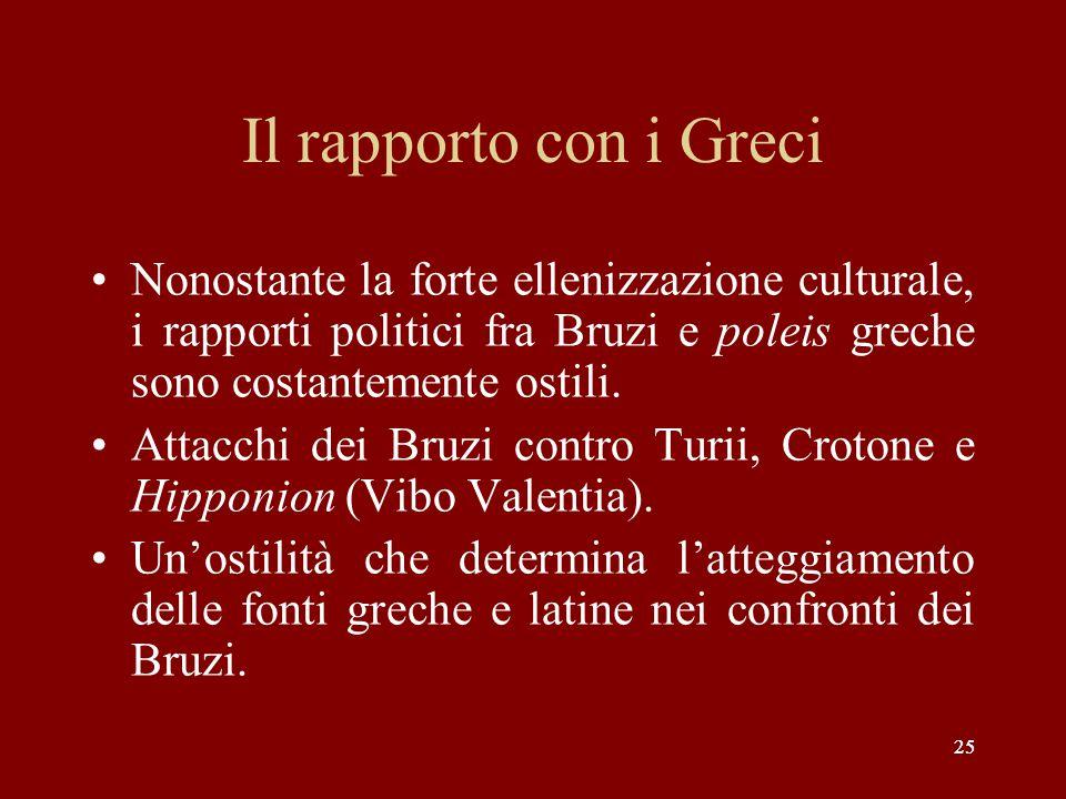 25 Il rapporto con i Greci Nonostante la forte ellenizzazione culturale, i rapporti politici fra Bruzi e poleis greche sono costantemente ostili. Atta