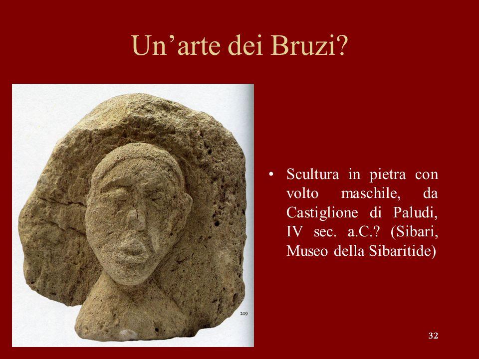 32 Un'arte dei Bruzi? Scultura in pietra con volto maschile, da Castiglione di Paludi, IV sec. a.C.? (Sibari, Museo della Sibaritide)