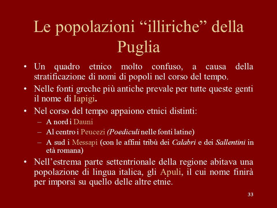 """33 Le popolazioni """"illiriche"""" della Puglia Un quadro etnico molto confuso, a causa della stratificazione di nomi di popoli nel corso del tempo. Nelle"""