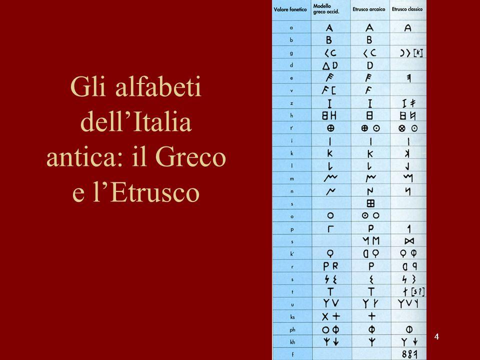 44 Gli alfabeti dell'Italia antica: il Greco e l'Etrusco
