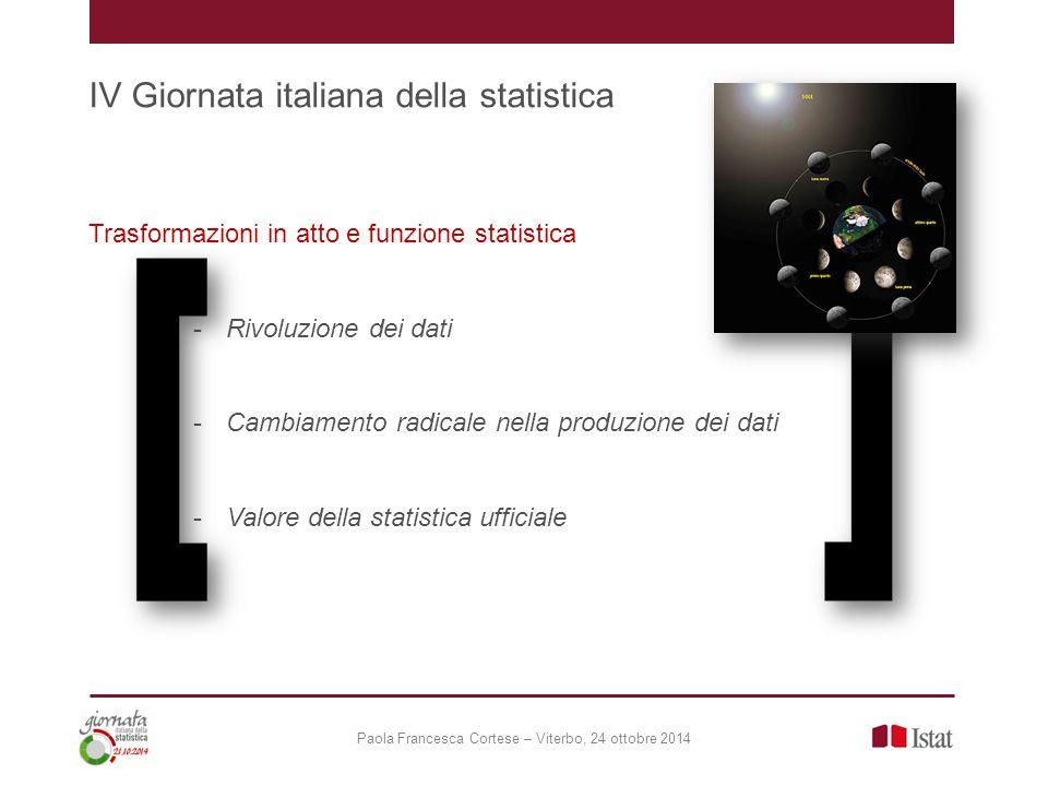 Paola Francesca Cortese – Viterbo, 24 ottobre 2014 IV Giornata italiana della statistica Rivoluzione dei dati Quale funzione per la statistica ufficiale.