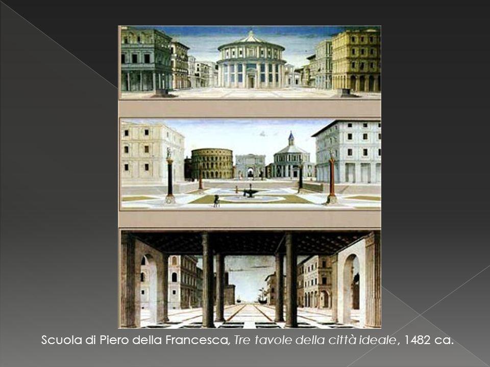 Scuola di Piero della Francesca, Tre tavole della città ideale, 1482 ca.