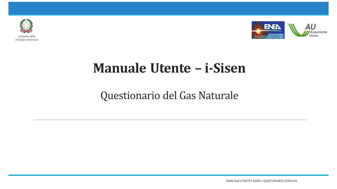 Manuale Utente – i-Sisen Questionario del Gas Naturale MANUALE UTENTE I-SISEN – QUESTIONARIO CONSUMI