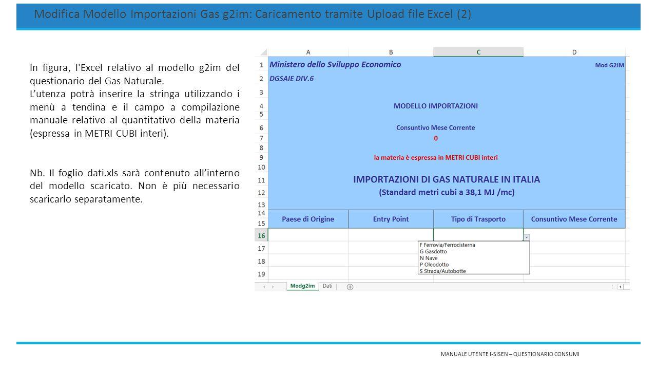 MANUALE UTENTE I-SISEN – QUESTIONARIO CONSUMI Modifica Modello Importazioni Gas g2im: Caricamento tramite Upload file Excel (2) In figura, l Excel relativo al modello g2im del questionario del Gas Naturale.