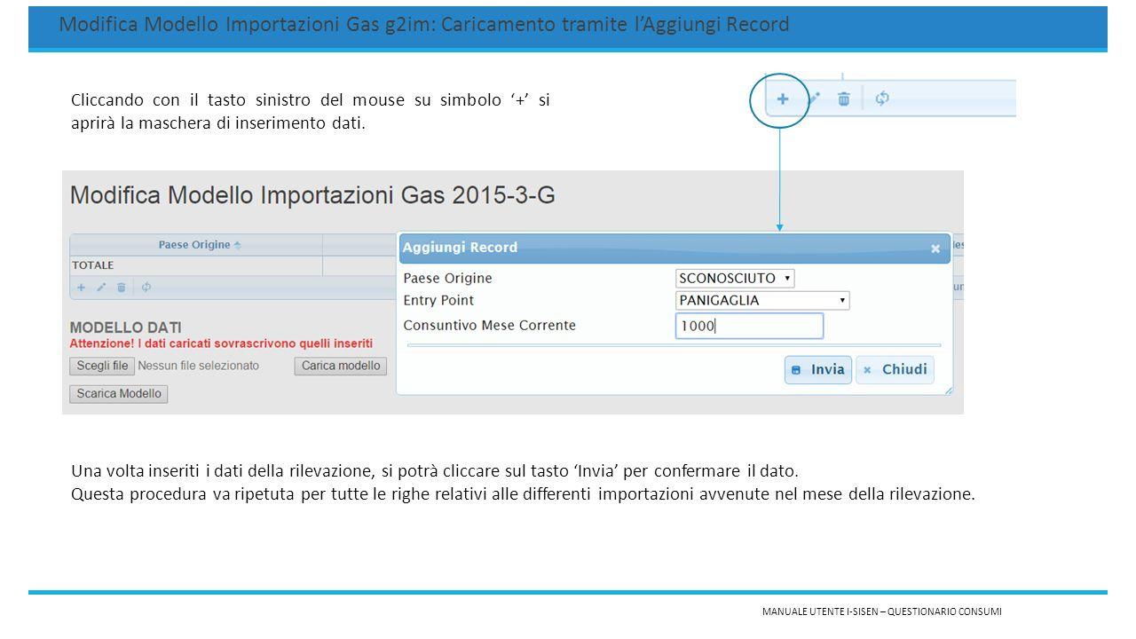 MANUALE UTENTE I-SISEN – QUESTIONARIO CONSUMI Modifica Modello Importazioni Gas g2im: Caricamento tramite l'Aggiungi Record (2) I dati inseriti verranno visualizzati nella tabella presente sia nella pagina 'Modifica Modello' che nel 'Dettaglio Modello'.