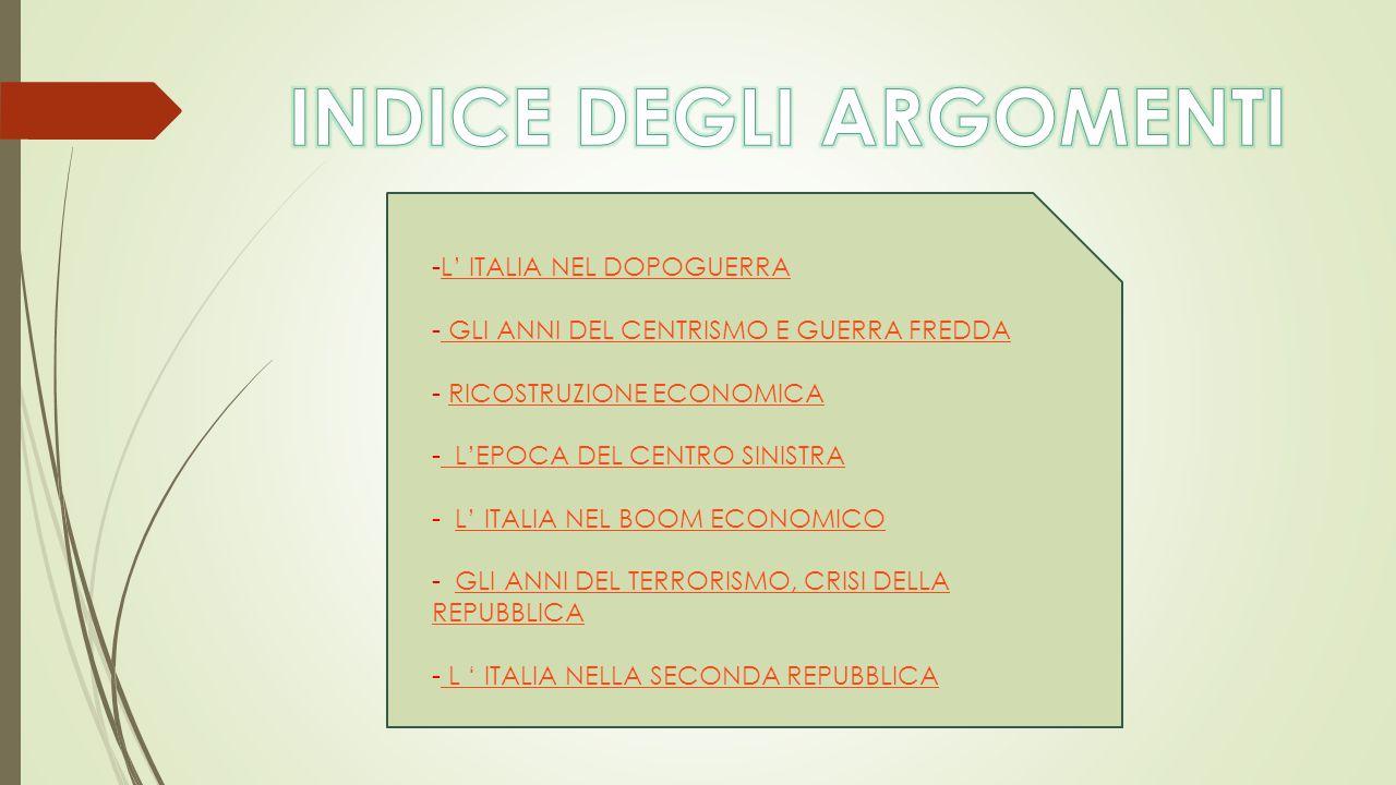 -L' ITALIA NEL DOPOGUERRAL' ITALIA NEL DOPOGUERRA - GLI ANNI DEL CENTRISMO E GUERRA FREDDA GLI ANNI DEL CENTRISMO E GUERRA FREDDA - RICOSTRUZIONE ECON