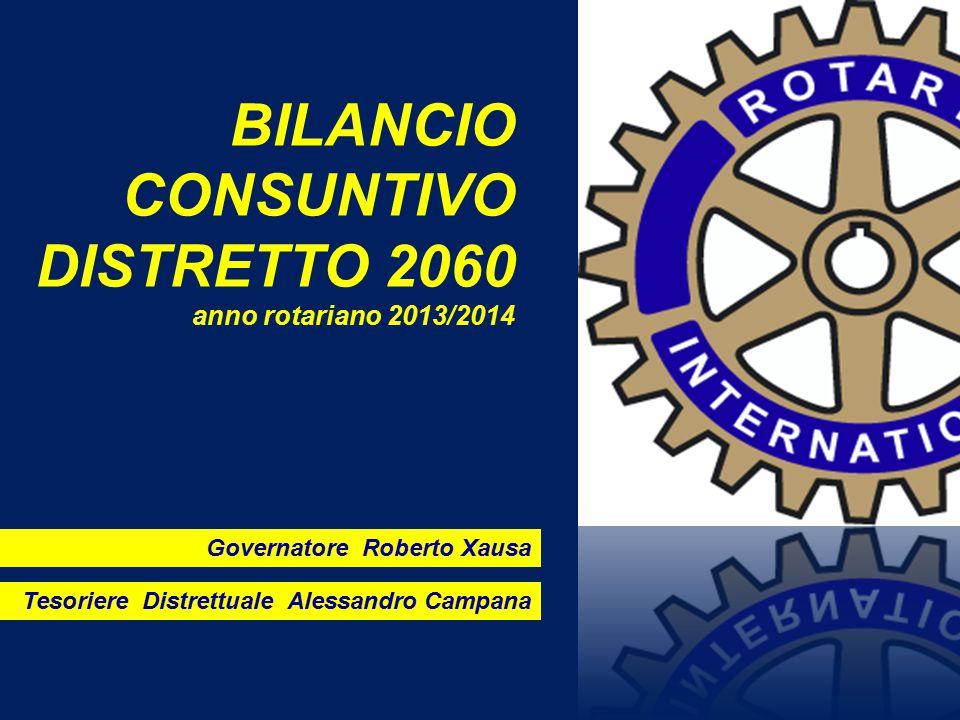 BILANCIO CONSUNTIVO DISTRETTO 2060 anno rotariano 2013/2014 Governatore Roberto Xausa Tesoriere Distrettuale Alessandro Campana