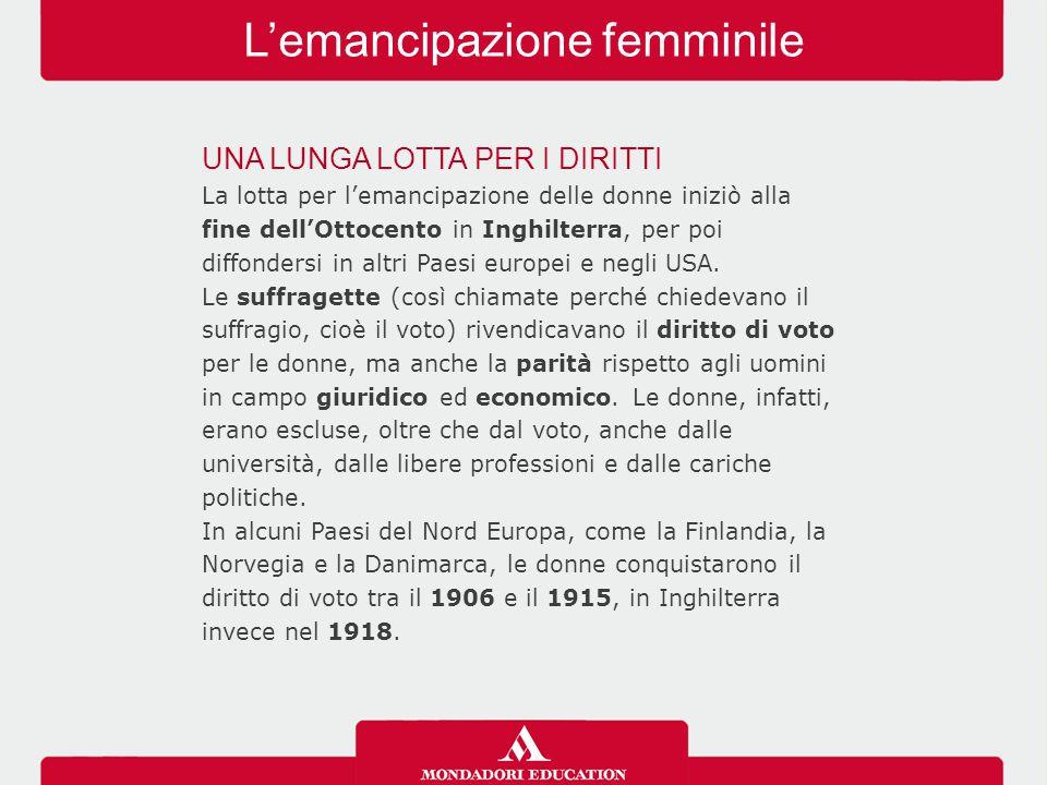 L'emancipazione femminile In altri Paesi, tra cui l'Italia e la Francia, le donne dovettero attendere la fine della seconda guerra mondiale prima di vedersi riconosciuto il diritto di voto (1946).
