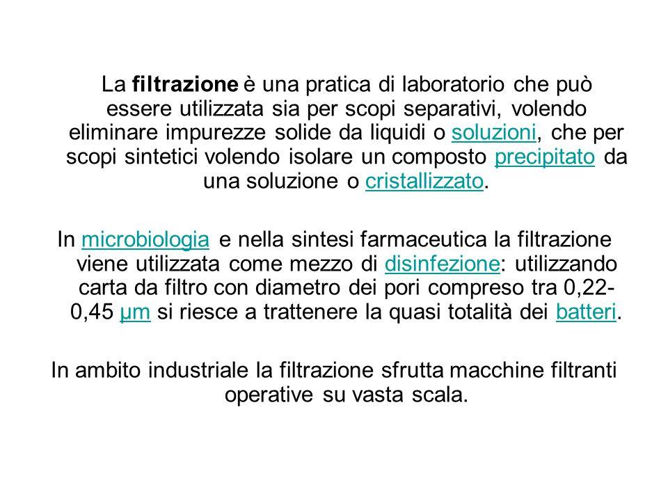 La filtrazione è una pratica di laboratorio che può essere utilizzata sia per scopi separativi, volendo eliminare impurezze solide da liquidi o soluzioni, che per scopi sintetici volendo isolare un composto precipitato da una soluzione o cristallizzato.soluzioniprecipitatocristallizzato In microbiologia e nella sintesi farmaceutica la filtrazione viene utilizzata come mezzo di disinfezione: utilizzando carta da filtro con diametro dei pori compreso tra 0,22- 0,45 μm si riesce a trattenere la quasi totalità dei batteri.microbiologiadisinfezioneμmbatteri In ambito industriale la filtrazione sfrutta macchine filtranti operative su vasta scala.