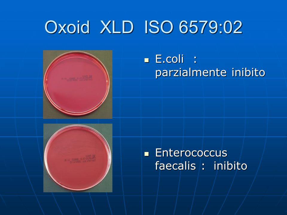 Oxoid XLD ISO 6579:02 E.coli : parzialmente inibito E.coli : parzialmente inibito Enterococcus faecalis : inibito Enterococcus faecalis : inibito