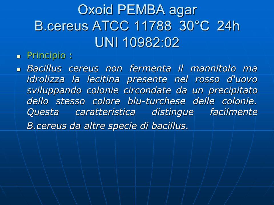 Principio : Principio : Bacillus cereus non fermenta il mannitolo ma idrolizza la lecitina presente nel rosso d'uovo sviluppando colonie circondate da